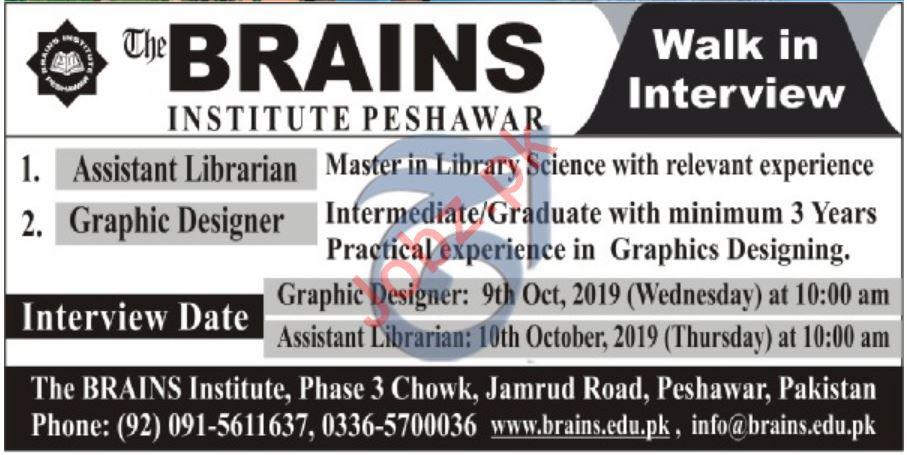 The Brains Institute Peshawar Walk In Interview 2019