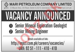 Mari Petroleum Company Limited MPCL Jobs in Islamabad
