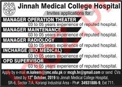 Jinnah Medical College Hospital Jobs in Karachi
