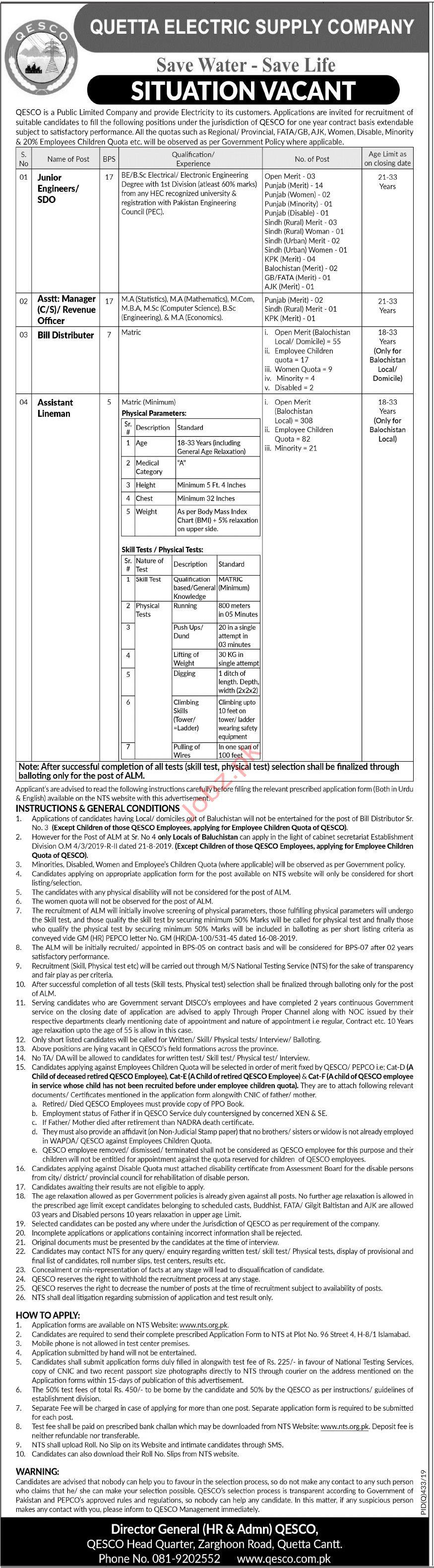 Quetta Electric Supply Company QESCO NTS Jobs