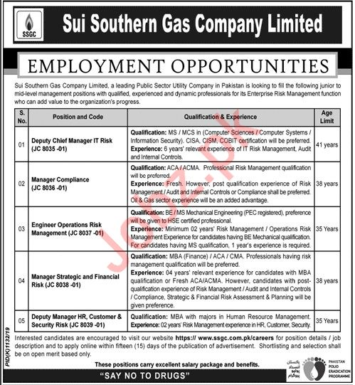 Sui Southern Gas Company Limited Jobs in Karachi