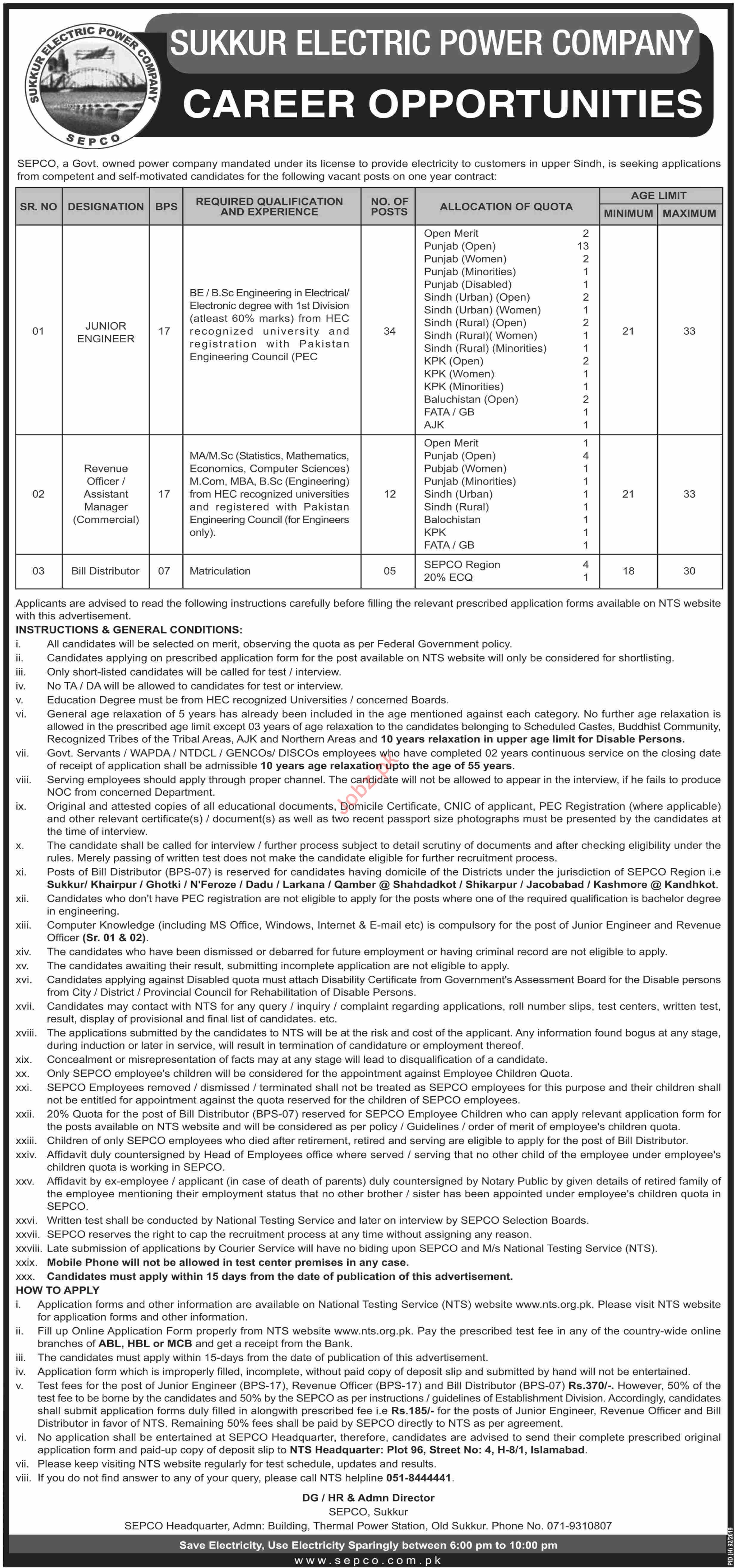 Sukkur Electric Power Company SEPCO Jobs for Engineers