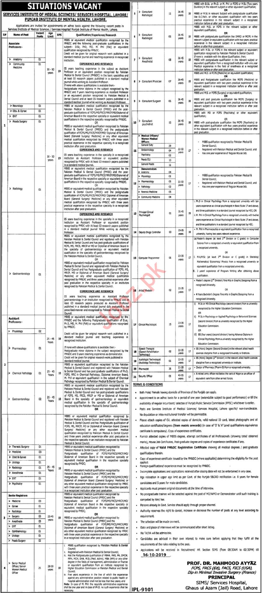 Punjab Institute of Mental Health Lahore Jobs