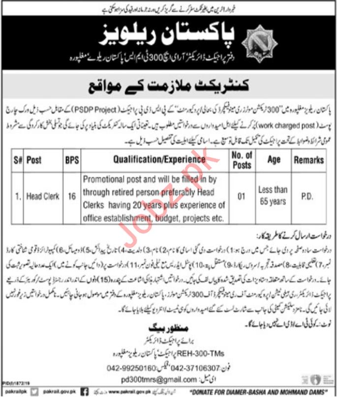 Pakistan Railways Job For Head Clerk in Lahore