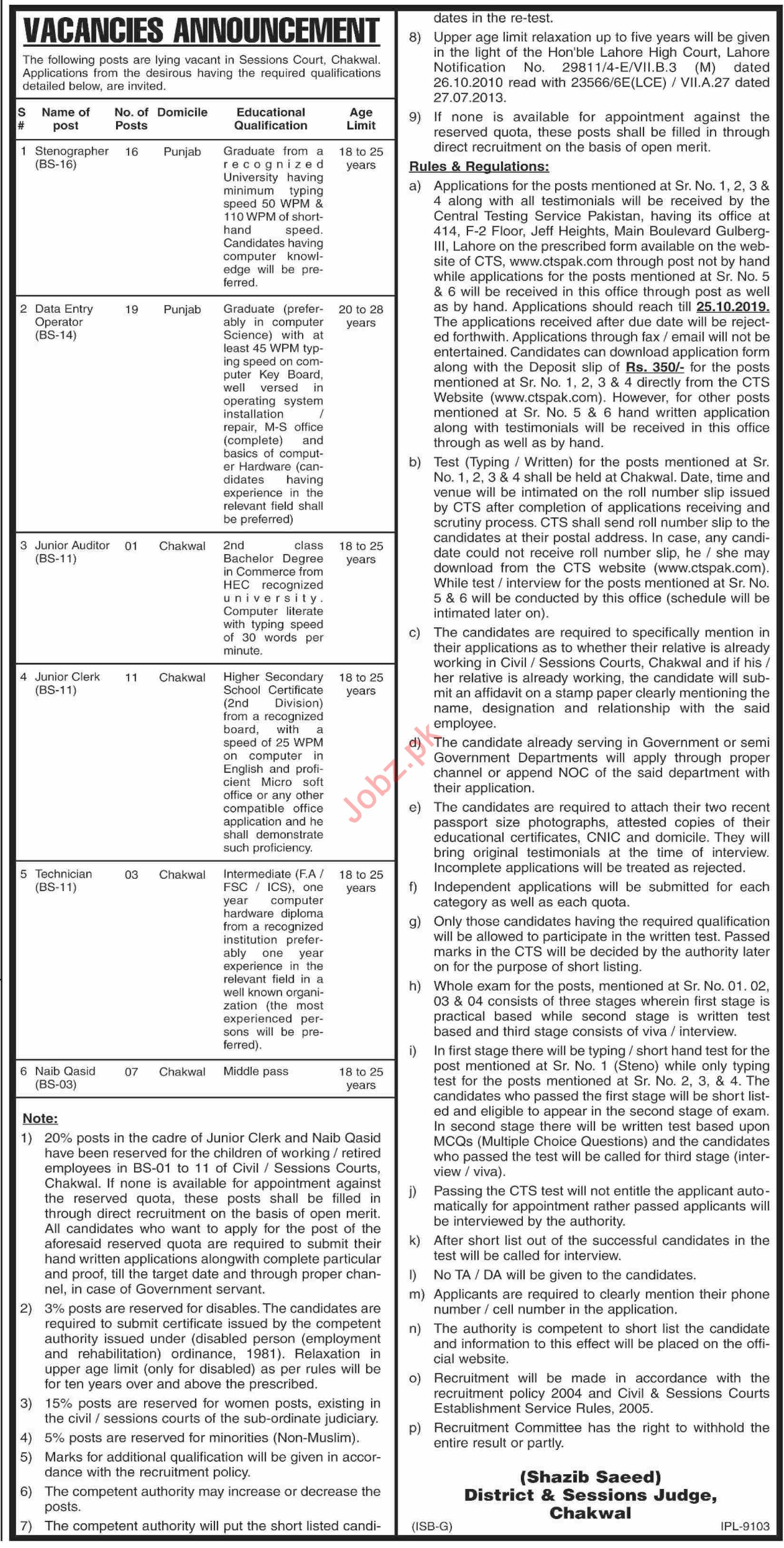 District & Session Court Chakwal Jobs for Clerk & Auditor