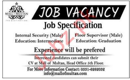 Mall of Multan Shopping Mall Jobs 2019