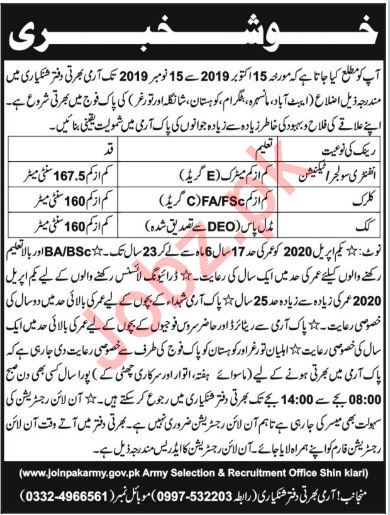 Pakistan Army Shinkiari Jobs 2019
