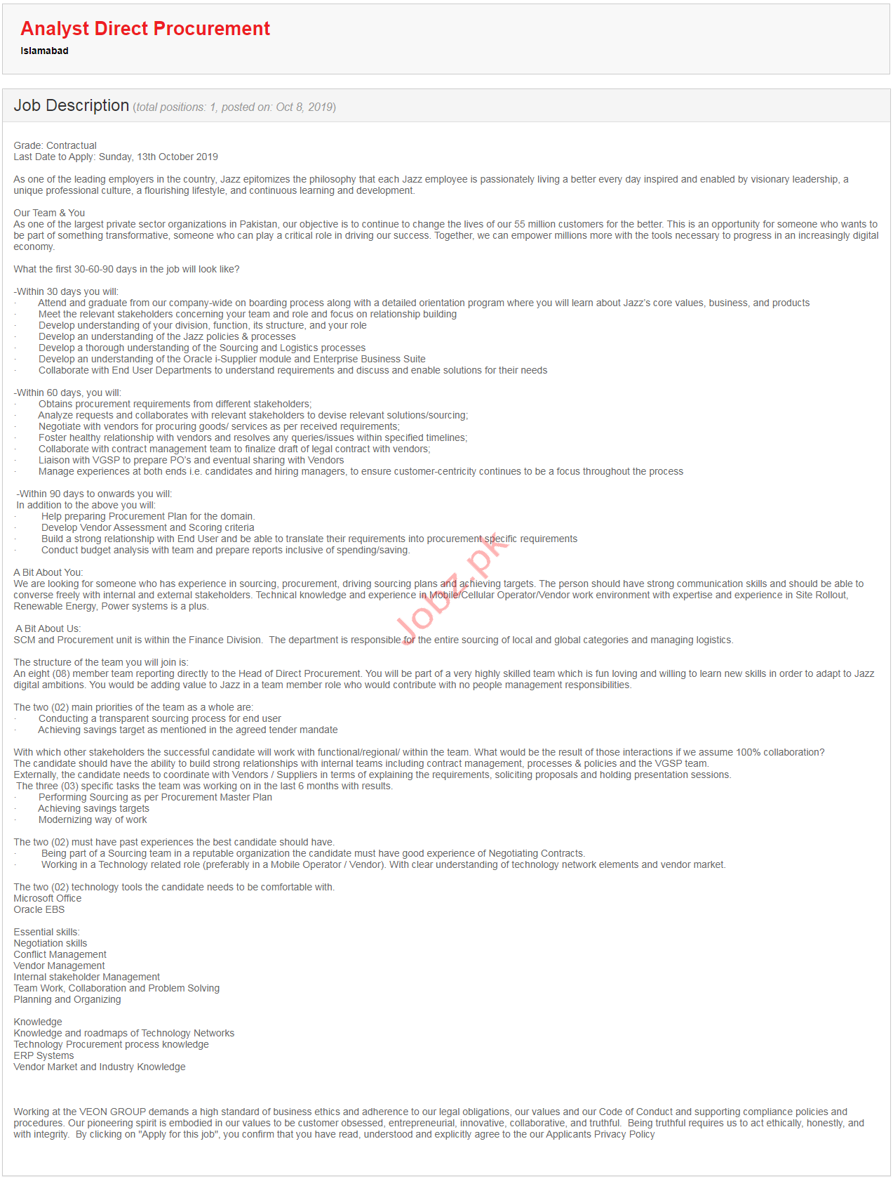 Analyst Direct Procurement Jobs in Islamabad