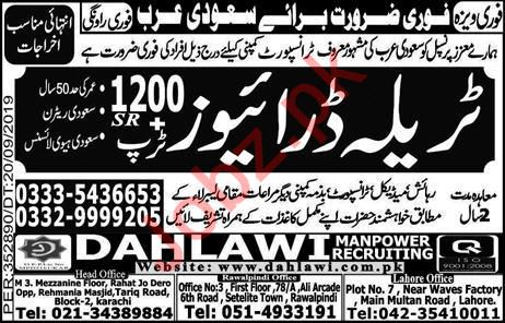 Transport Company Jobs For HTV Trala Drivers in Saudi Arabia