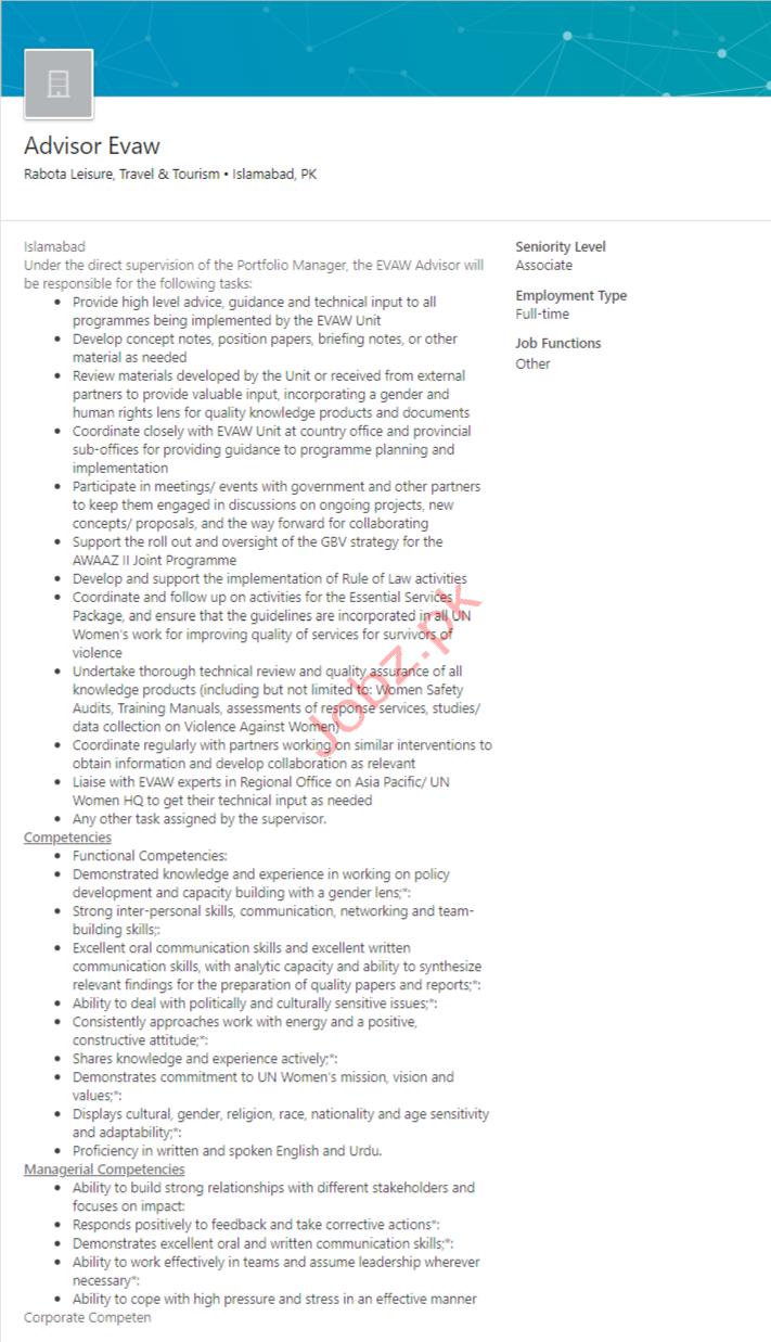 Evaw Addvisor Jobs in Islamabad