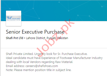 Executive Purchase Jobs in Lahore