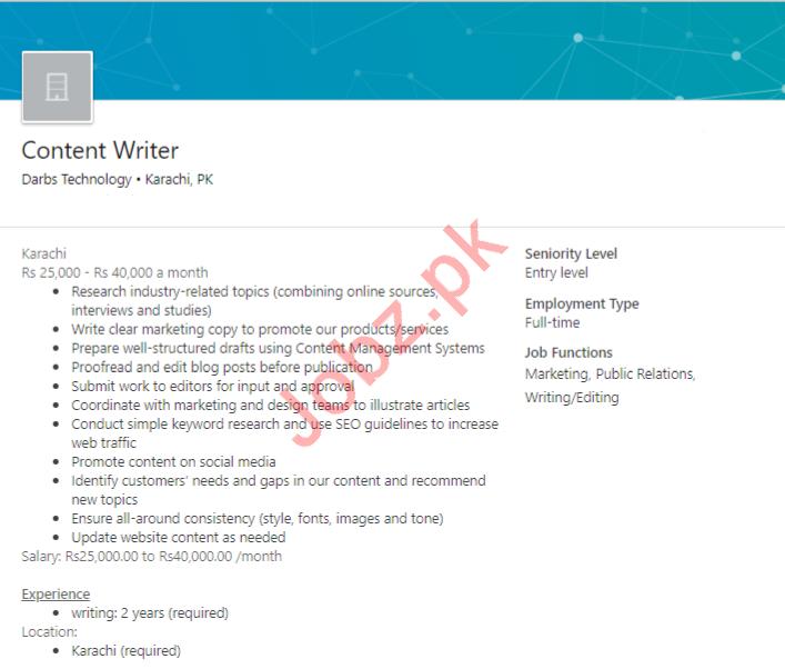 Content Writer Job in Karachi