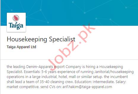 Housekeeping Specialist Jobs in Lahore