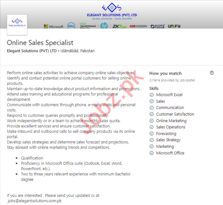 Online Sales Specialist Job in Islamabad