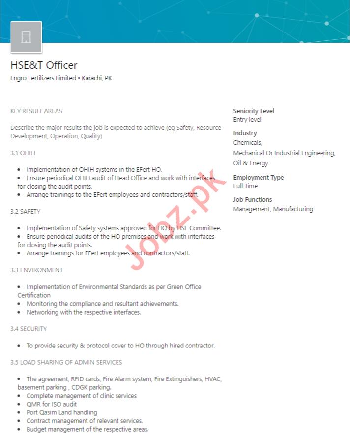 HSE&T Officer Job in Karachi