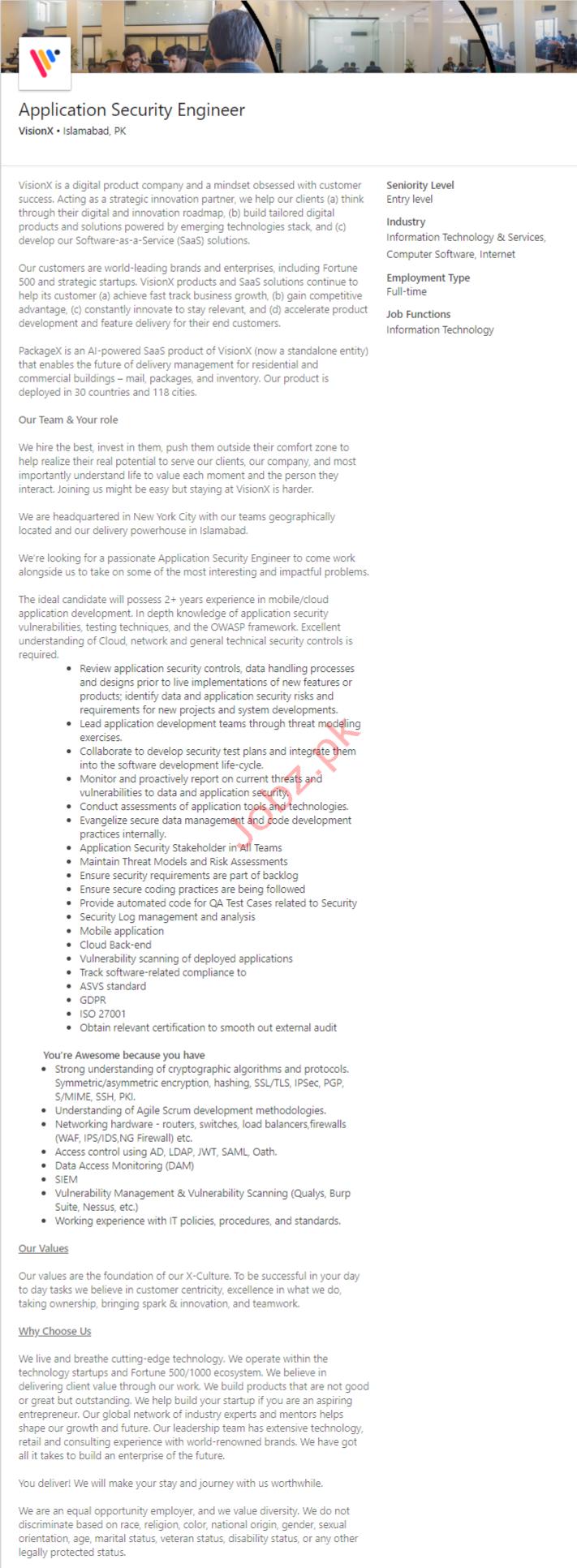 Application Security Engineer Jobs in Islamabad