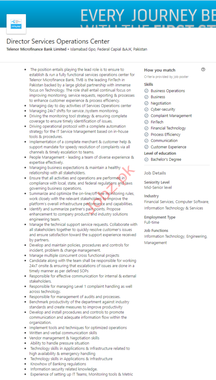 Director Services Operations Center Jobs in Islamabad