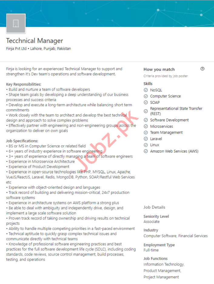 Technical Manager Job in Lahore