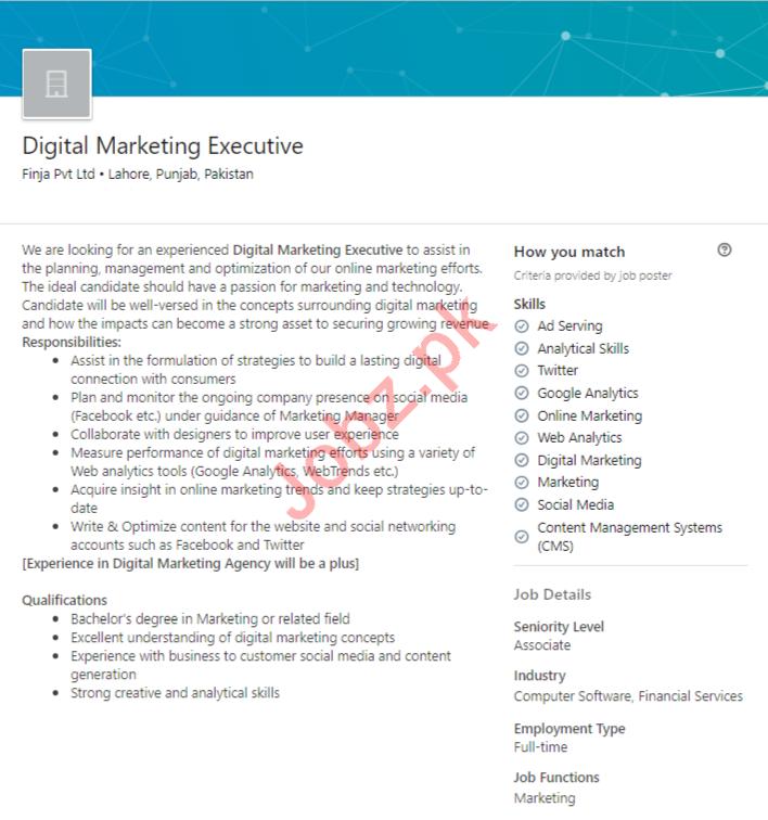 Digital Marketing Executive Job in Lahore