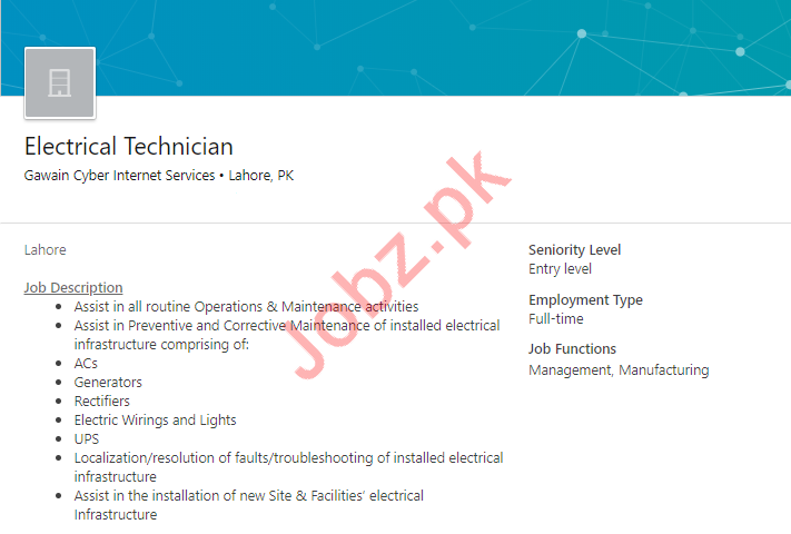 Electrical Technician Job in Lahore