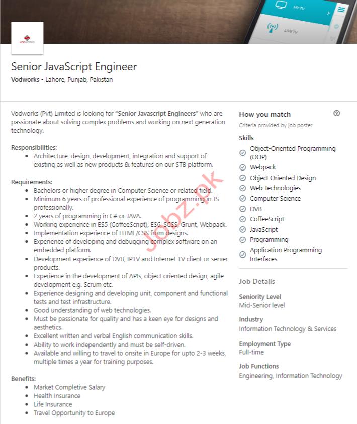 JavaScript Engineer Jobs in Lahore