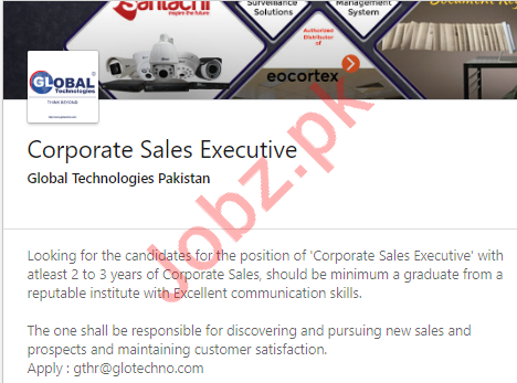 Corporate Sales Executive Job in Islamabad