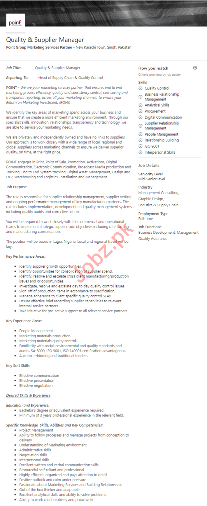 Quality & Supplier Manager Job in Karachi