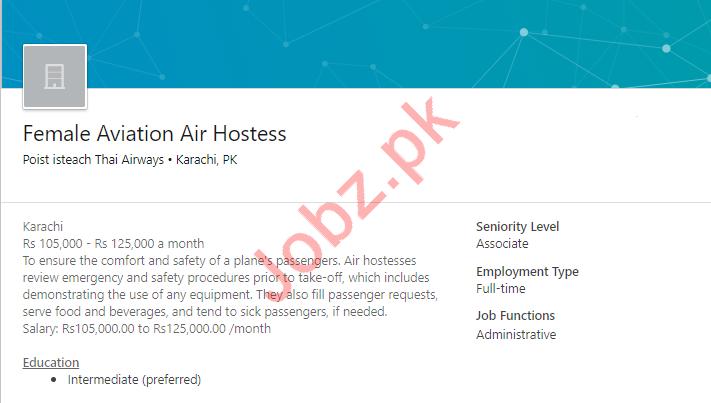 Aviation Air Hostess Job 2019 In Karachi