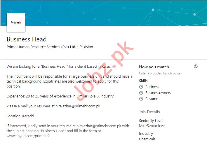 Business Head Job 2019 For Karachi