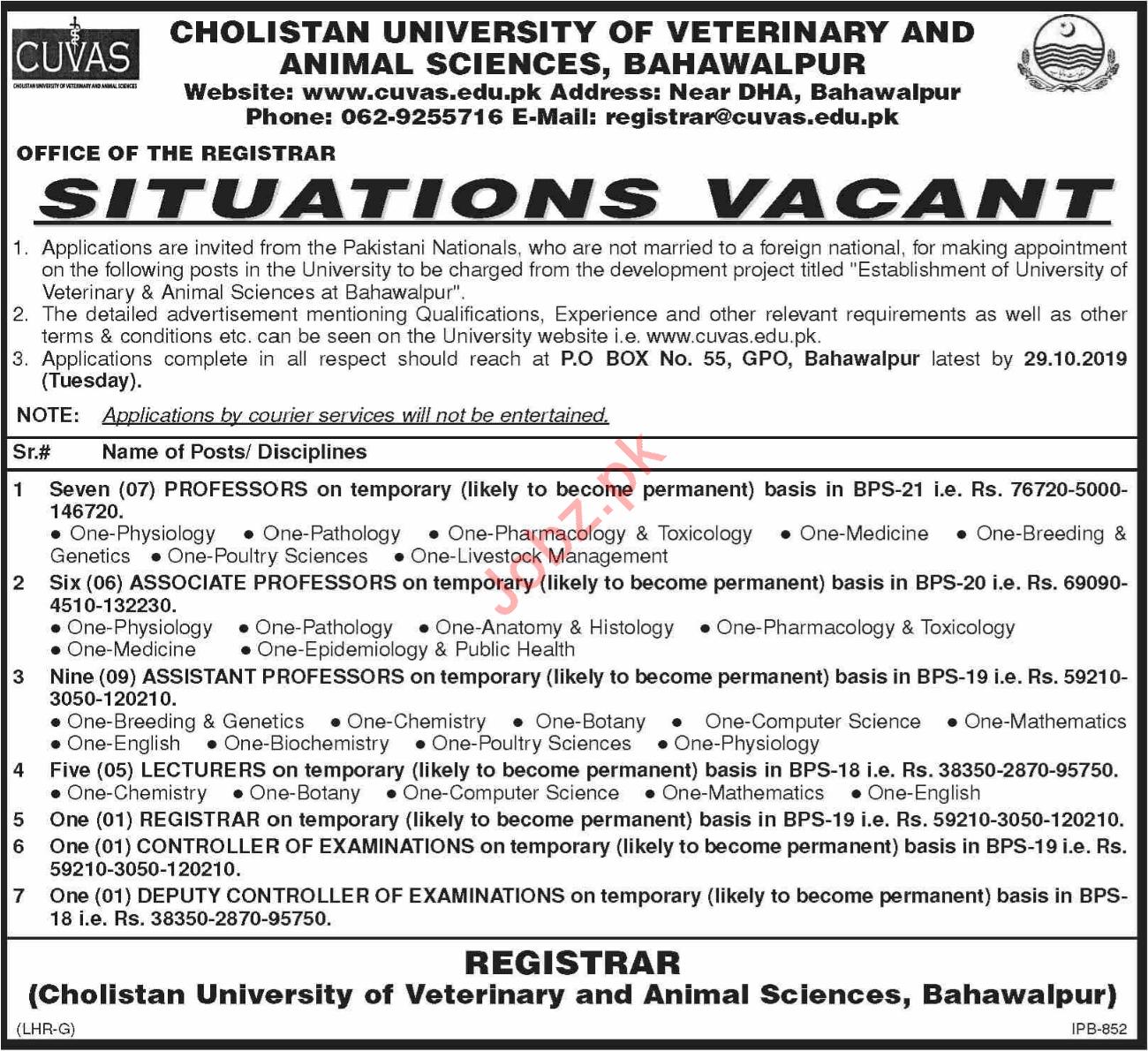 Cholistan University of Veterinary and Animal Sciences Jobs