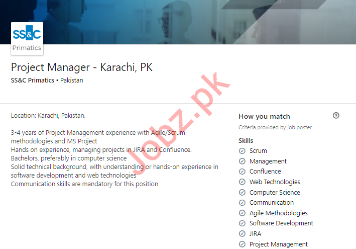 SS&C Primatics Company Job For Project Manager in Karachi