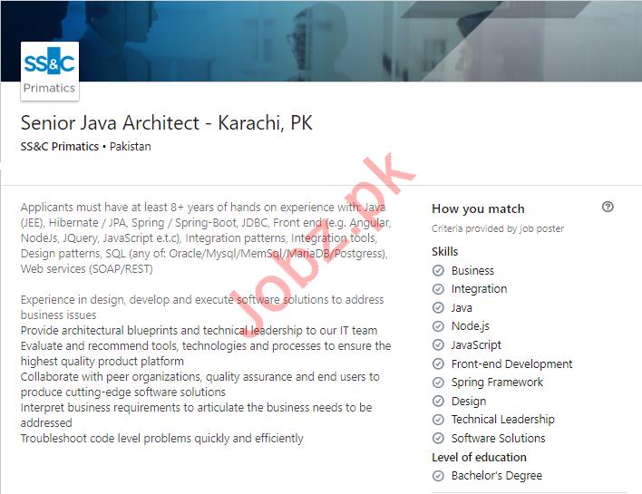 Senior Java Architect Job 2019 in Karachi