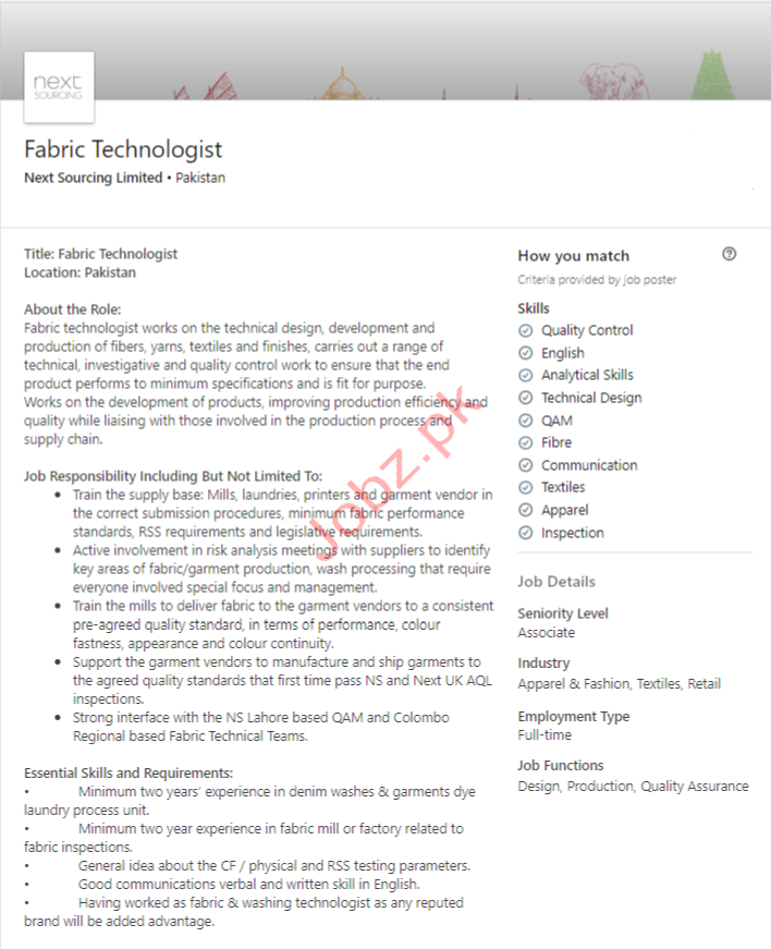 Fabric Technologist Jobs in Islamabad