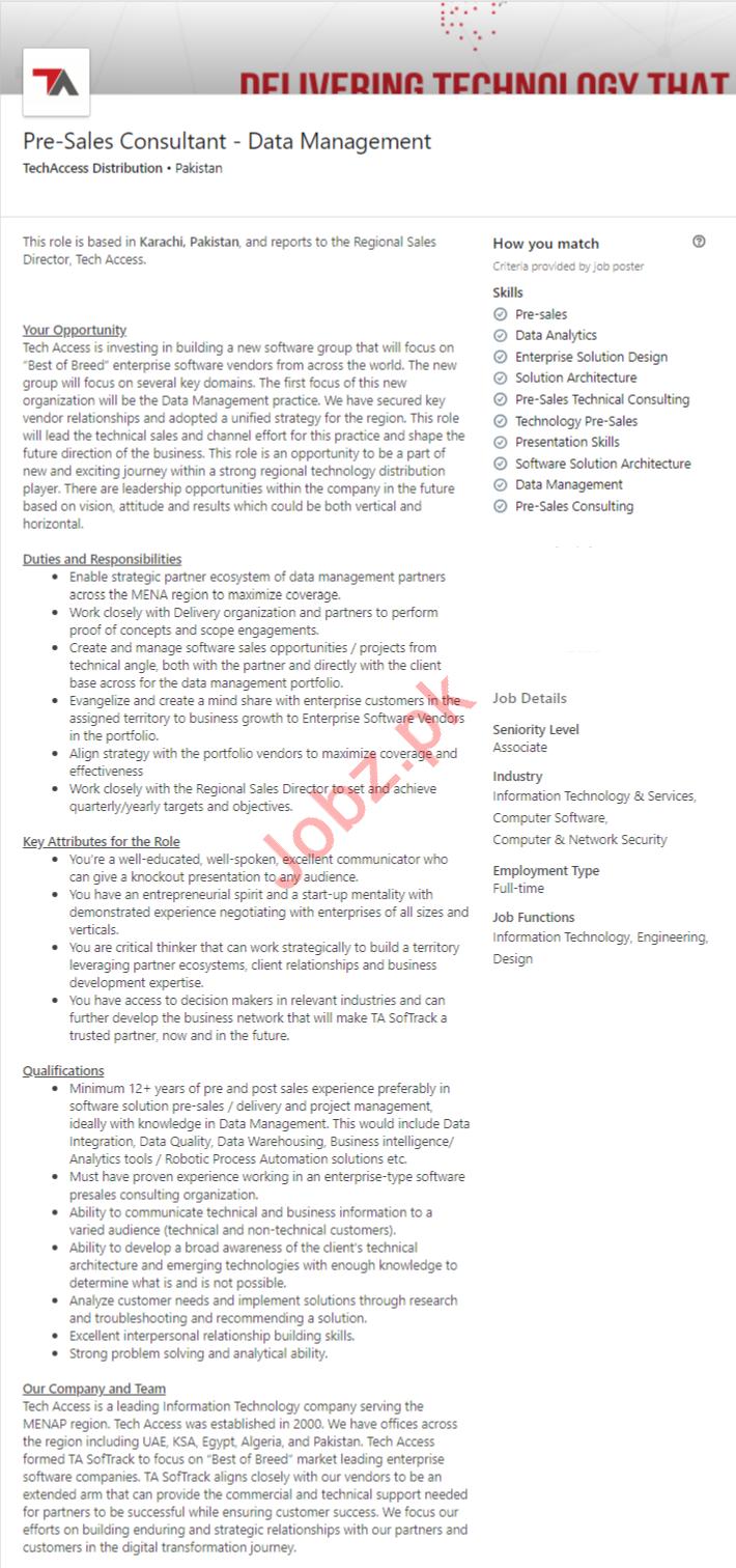 Pre Sales Consultant Jobs in Karachi