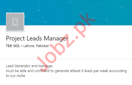 Project Leads Manager Jobs in Lahore
