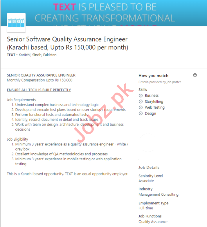 Software Quality Assurance Engineer Jobs in Karachi Jobs