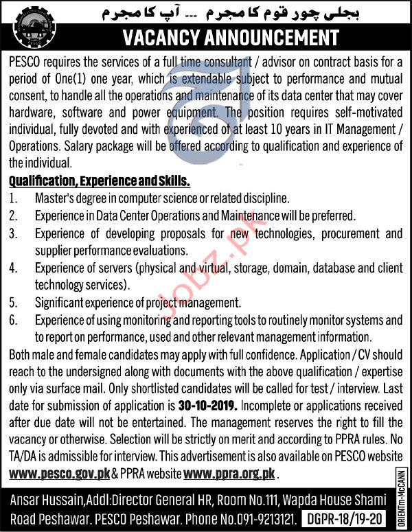 PESCO Consultant Jobs in Peshawar