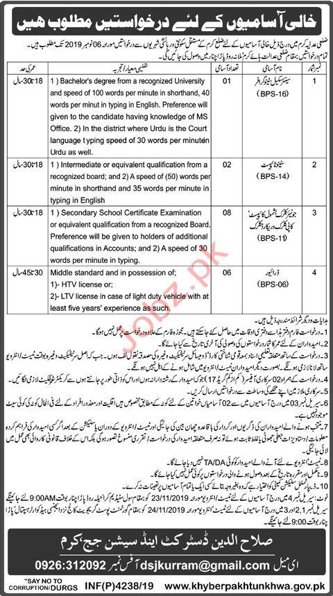 District & Session Court Kurram KPK Jobs