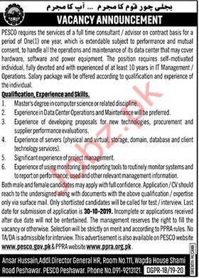 Consultant Jobs in PESCO Peshawar
