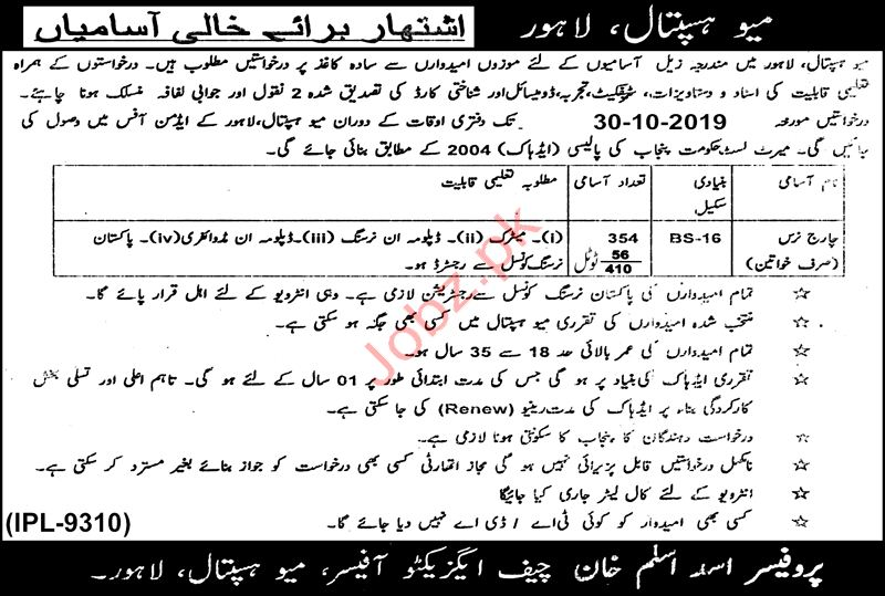 Charge Nurse Jobs in Mayo Hospital Lahore