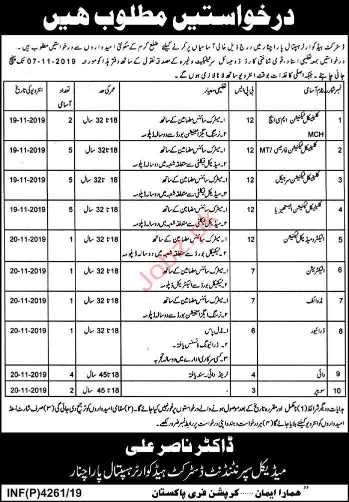 District Headquarter Hospital DHQ Parachinar Jobs