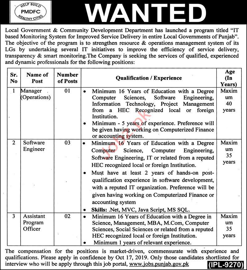 Local Government Punjab Jobs 2019
