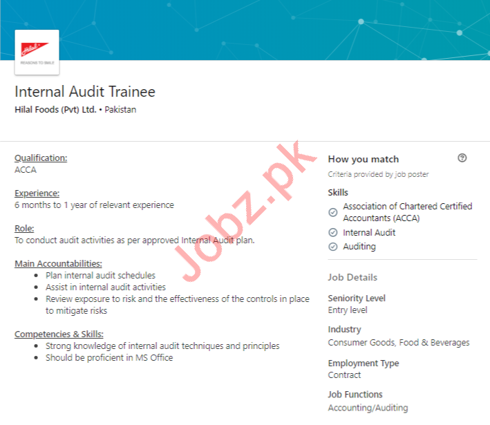 Internal Audit Trainee Job in Lahore