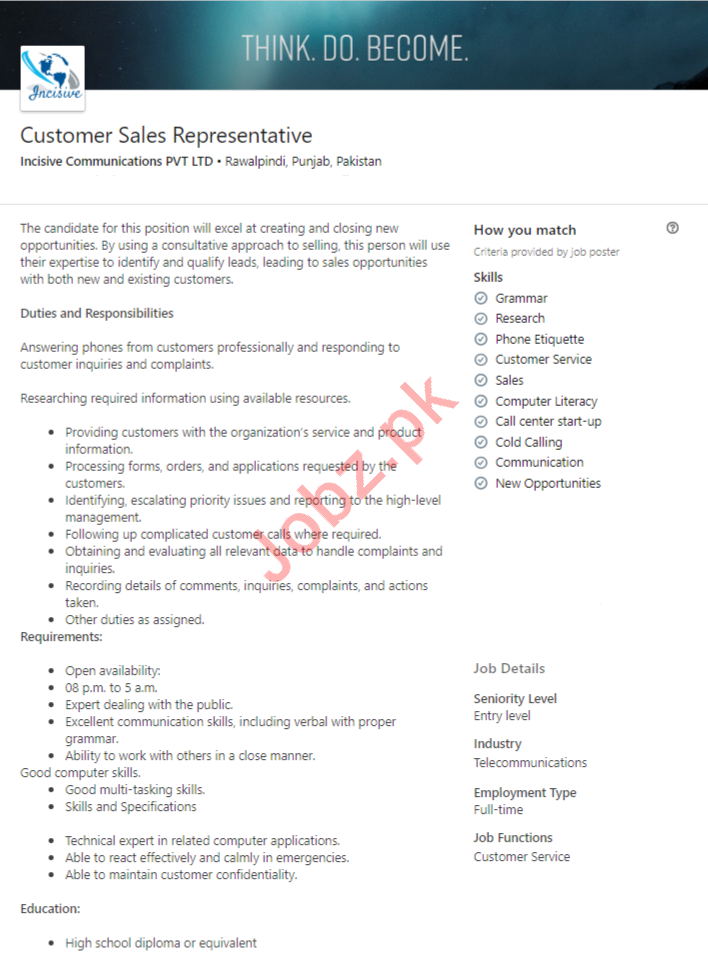 Customer Sales Representative Job in Rawalpindi