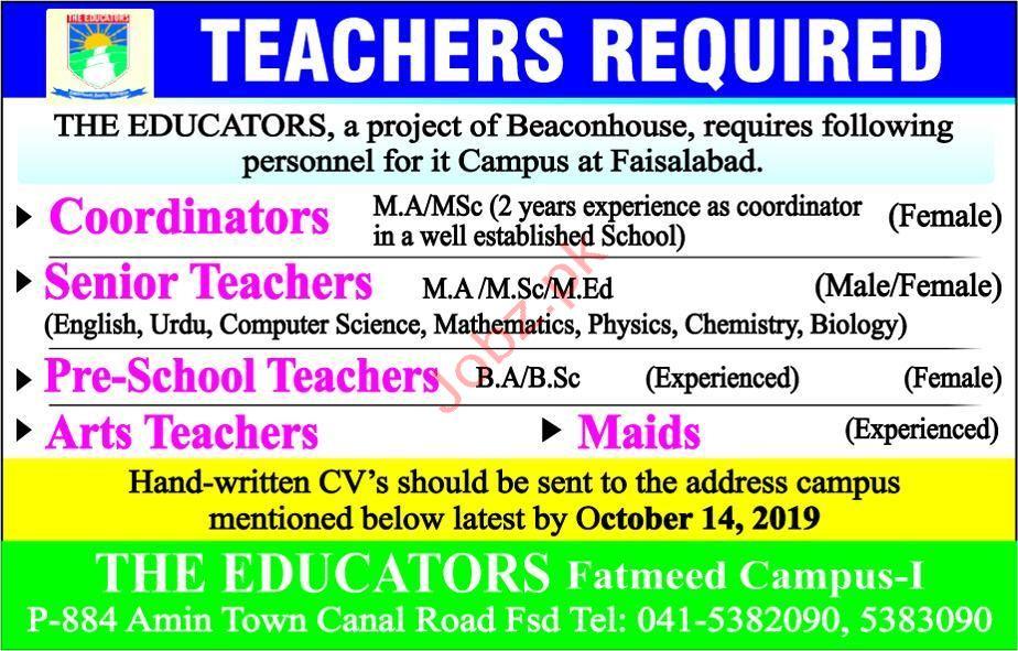 The Educators Fatmeed Campus Faisalabad Jobs