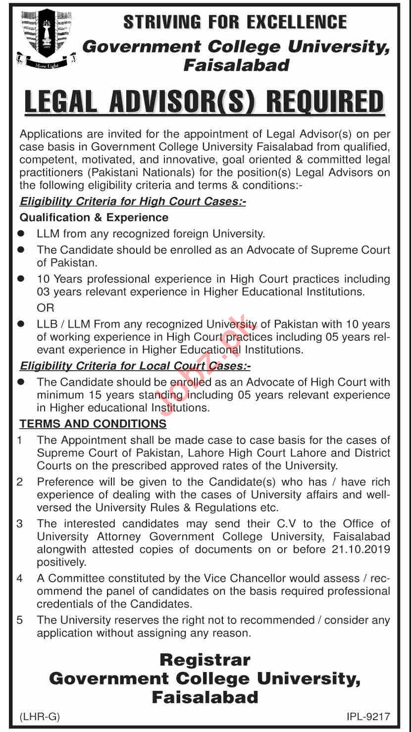 Govt College University Faisalabad GCUF Jobs Legal Advisor
