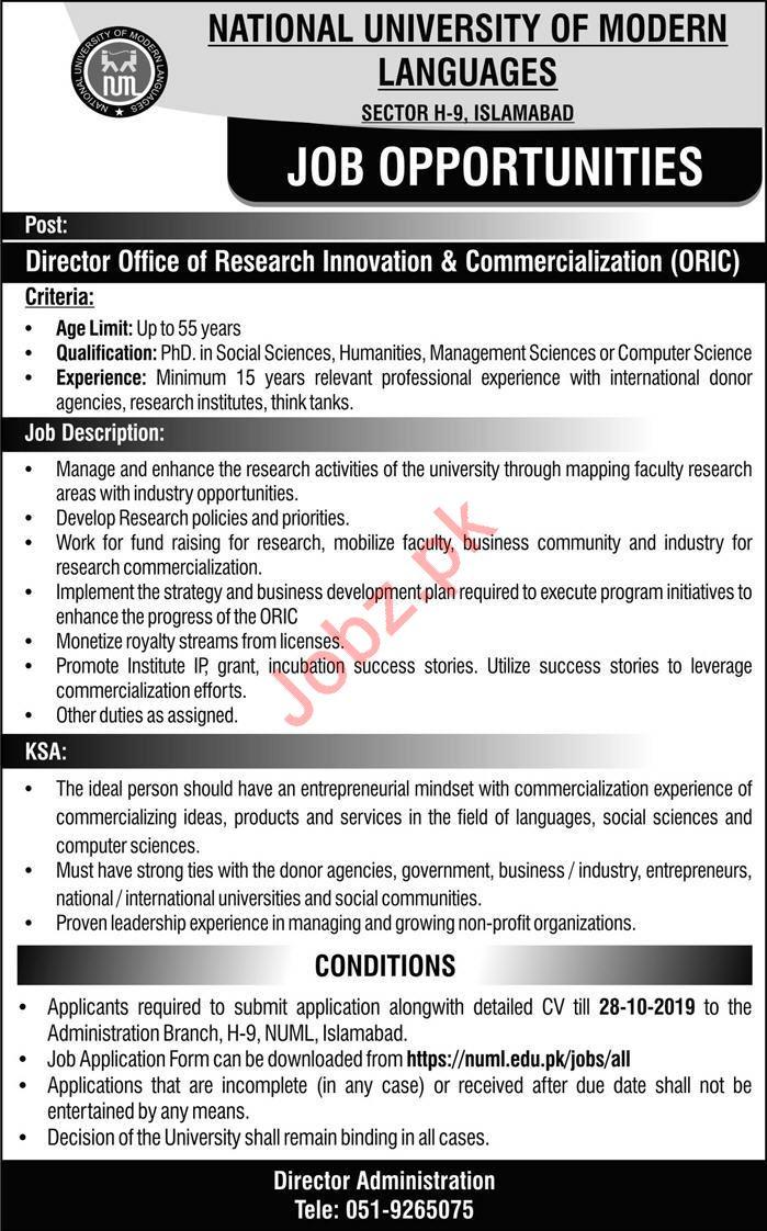 National University of Modern Languages NUML Job 2019