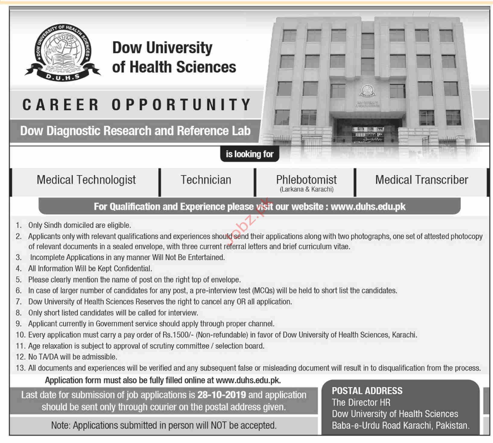 Dow Diagnostic and Research Lab Karachi Jobs