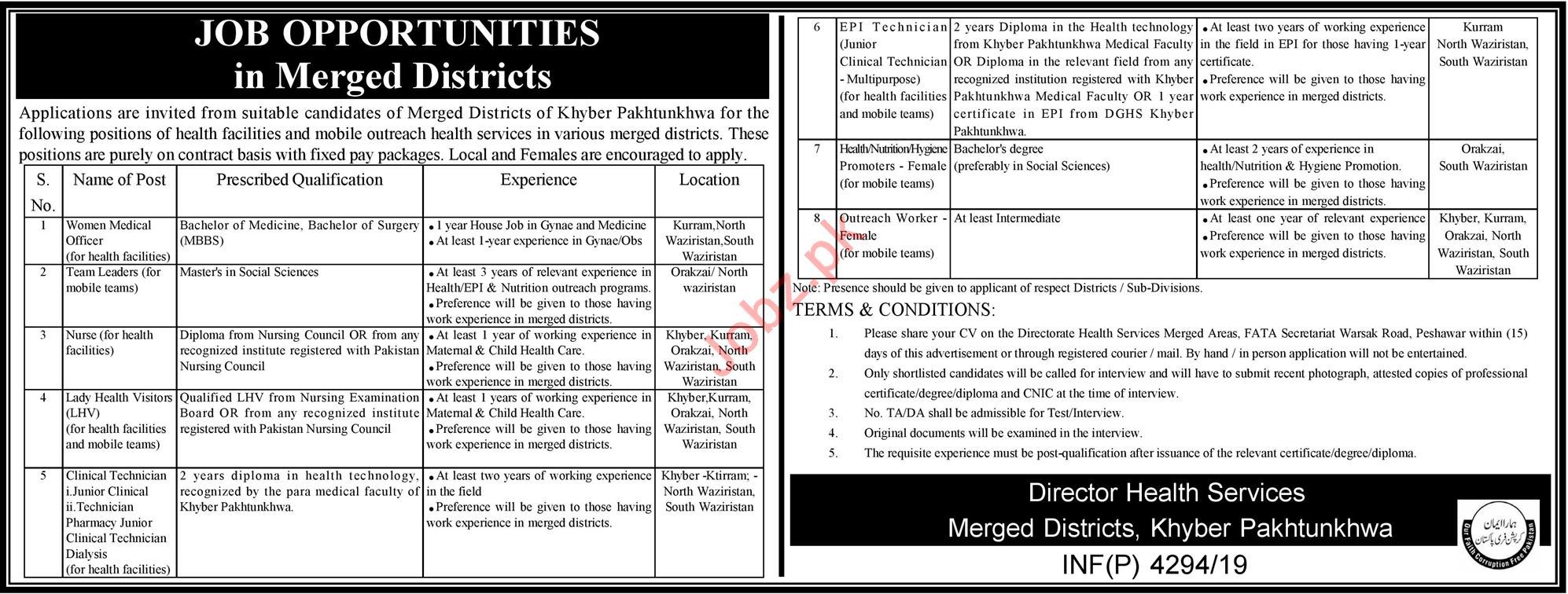 Health Department Jobs For Medical & Technical Staff