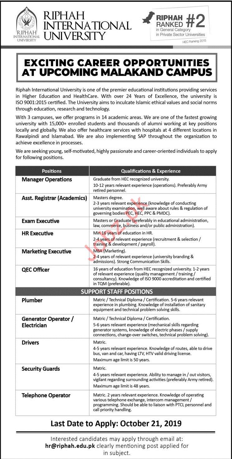Riphah International University Teaching & Non Teaching Jobs